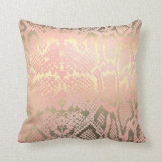 Contemporary Gold Pink White Python Snake Skin Throw Pillow