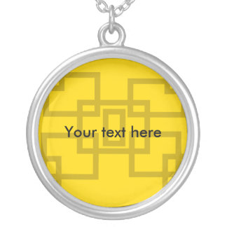 Contemporary gold squares on yellow necklaces
