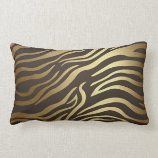 Contemporary Golden Black Zebra Safari Skin Lumbar Pillow