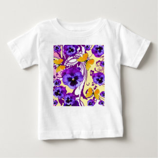 CONTEMPORARY GOLDEN BUTTERFLIES & PURPLE PANSY BABY T-Shirt