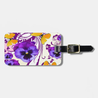 CONTEMPORARY GOLDEN BUTTERFLIES & PURPLE PANSY LUGGAGE TAG