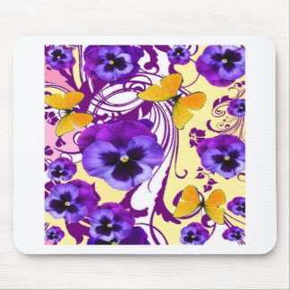 CONTEMPORARY GOLDEN BUTTERFLIES & PURPLE PANSY MOUSE PAD