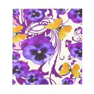 CONTEMPORARY GOLDEN BUTTERFLIES & PURPLE PANSY NOTEPAD