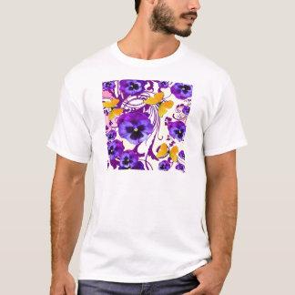 CONTEMPORARY GOLDEN BUTTERFLIES & PURPLE PANSY T-Shirt