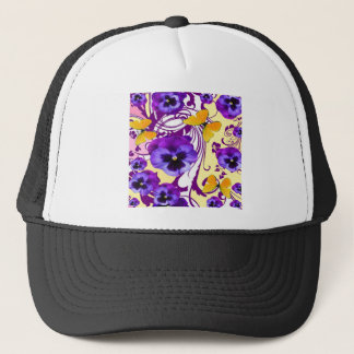 CONTEMPORARY GOLDEN BUTTERFLIES & PURPLE PANSY TRUCKER HAT