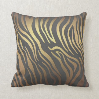 Contemporary Golden Chochlatte Zebra Animal Skin Throw Pillow