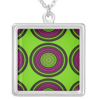 Contemporary green and pink circles pendants