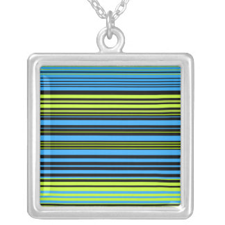 Contemporary green blue and black stripes necklaces