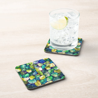 Contemporary Green Pattern Drink Coaster