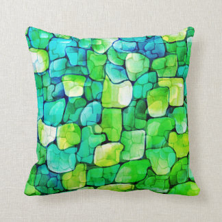 Contemporary Green Pattern Throw Pillow