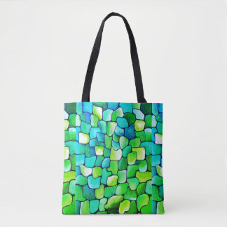 Contemporary Green Pattern Tote Bag