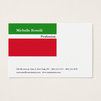 Contemporary Green Red White Minimalist Modern Business Card