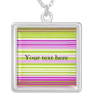 Contemporary green white and pink stripes necklace
