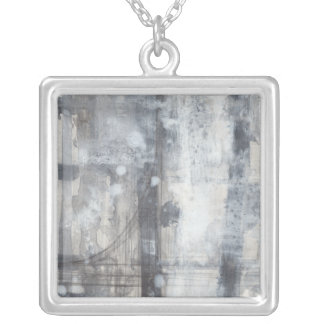 Contemporary Grey Painting Square Pendant Necklace