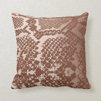 Contemporary Ivory Brown Pastel Snake Python Skin Throw Pillow