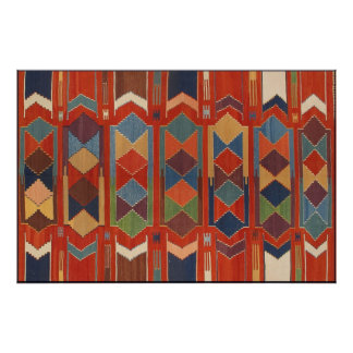 Contemporary Kilim Pattern Orange Blue Green Poster