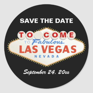 Contemporary Las Vegas sign wedding Save the Date Classic Round Sticker