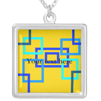Contemporary light blue squares on yellow square pendant necklace