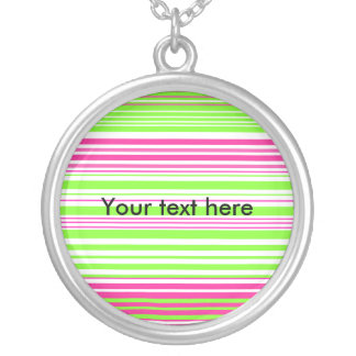 Contemporary light green and pink stripes necklaces