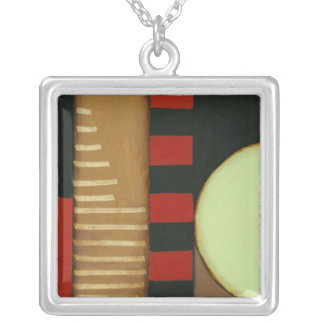 Contemporary Loft Style Paneled Painting Silver Plated Necklace