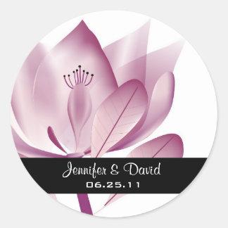 Contemporary Magnolia Wedding Favor Sticker