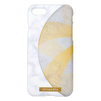 Contemporary Marble Gold and Silver Circle Pattern iPhone 8/7 Case