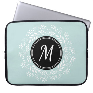Contemporary Mint Floral Wreath Custom Monogram Laptop Sleeve