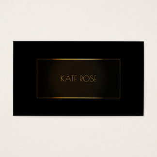 Contemporary Modern Black Gold Frame Vip Business Card