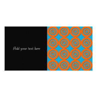 Contemporary Modern Design Orange Blue Circles Customized Photo Card