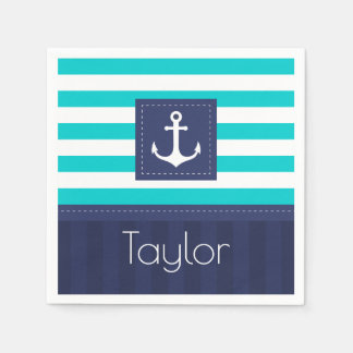 Contemporary Nautical Striped Design Personalized Disposable Napkins