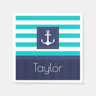 Contemporary Nautical Striped Design Personalized Paper Napkin