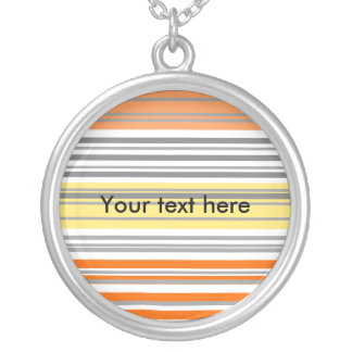 Contemporary orange and yellow horizontal stripes personalized necklace