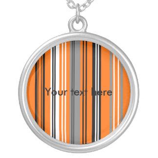 Contemporary orange black and white gray stripes round pendant necklace