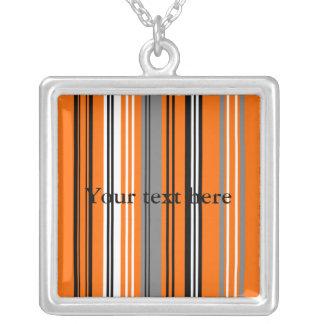 Contemporary orange black and white gray stripes square pendant necklace