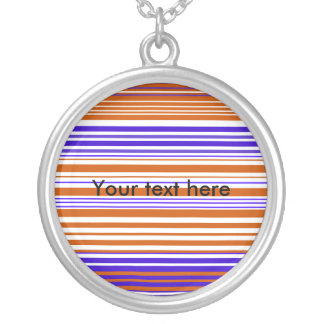 Contemporary orange white and purple stripes custom necklace