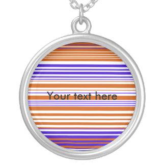 Contemporary orange white and purple stripes round pendant necklace