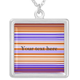Contemporary orange white and purple stripes personalized necklace