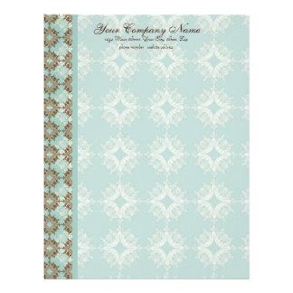 Contemporary Pattern, Aqua & Brown Stationery Letterhead