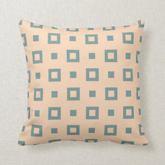 Contemporary Peach Green Square Pattern Throw Pillow