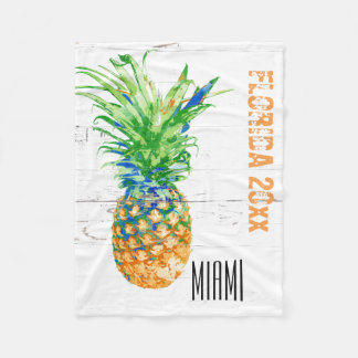 Contemporary Pineapple Add Year and Location Fleece Blanket