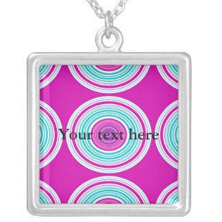 Contemporary pink and baby blue circles necklace