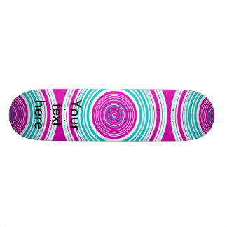 Contemporary pink and baby blue circles custom skate board