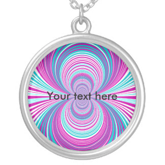 Contemporary pink and baby blue funnel round pendant necklace