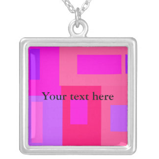 Contemporary pink and violet squares square pendant necklace