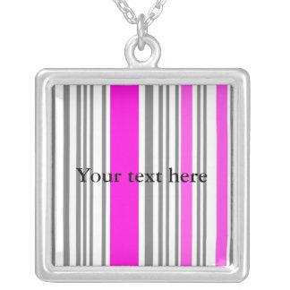 Contemporary pink stripes square pendant necklace