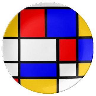 Contemporary plate Mondrian style