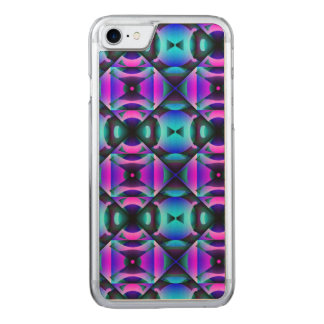 Contemporary Purple and Teal Strange Checks Carved iPhone 8/7 Case