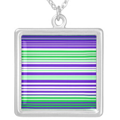 Contemporary purple white and green stripes personalized necklace