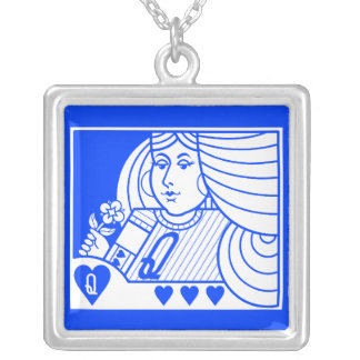 Contemporary Queen of Hearts Necklace blue