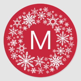 contemporary | red and white snowflakes round sticker
